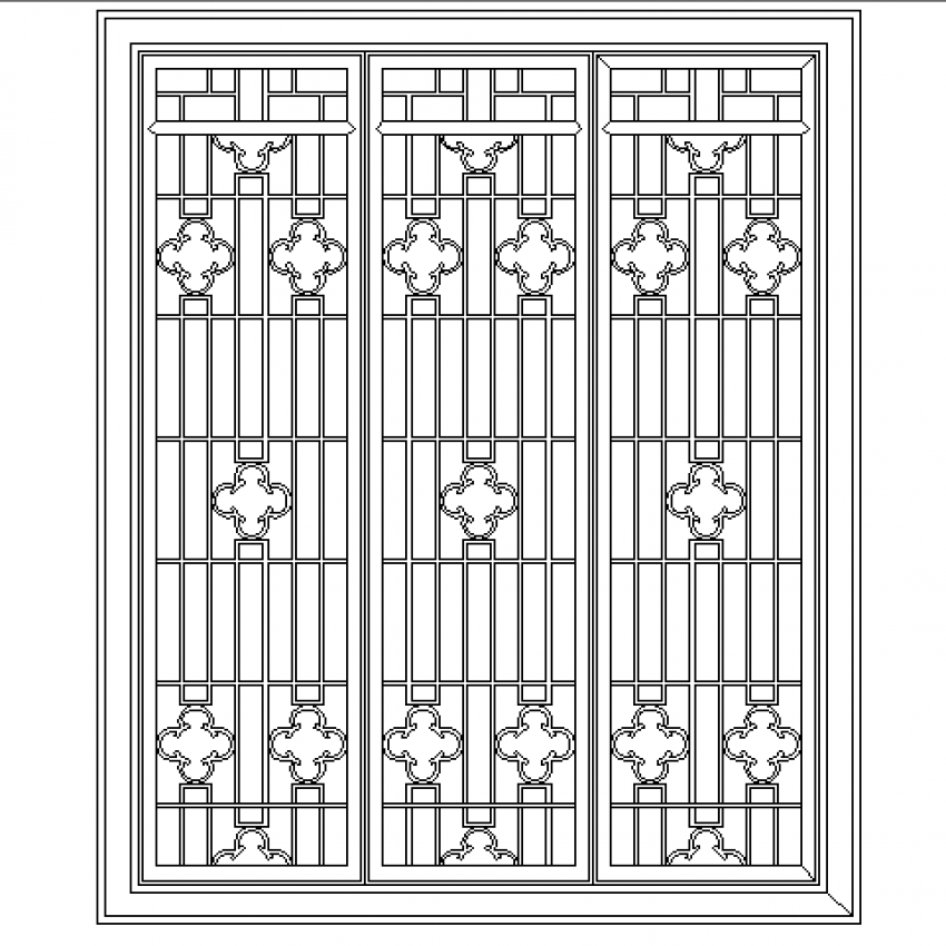 Stainless steel classical window cad design block dwg file