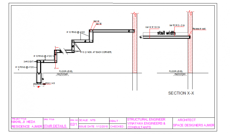 Stair section detail design drawing of house design