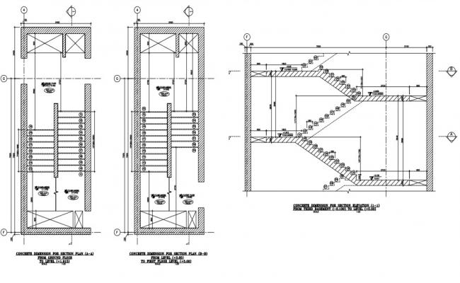 staircase detail plans and section of a building