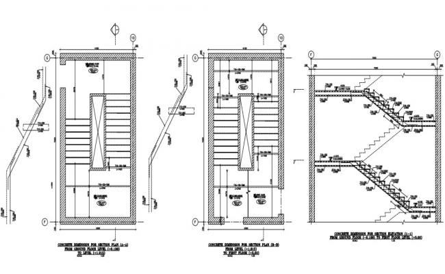 staircase structure plan and strucural detail of a building