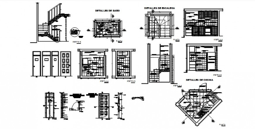 Staircase and bathroom details autocad software file