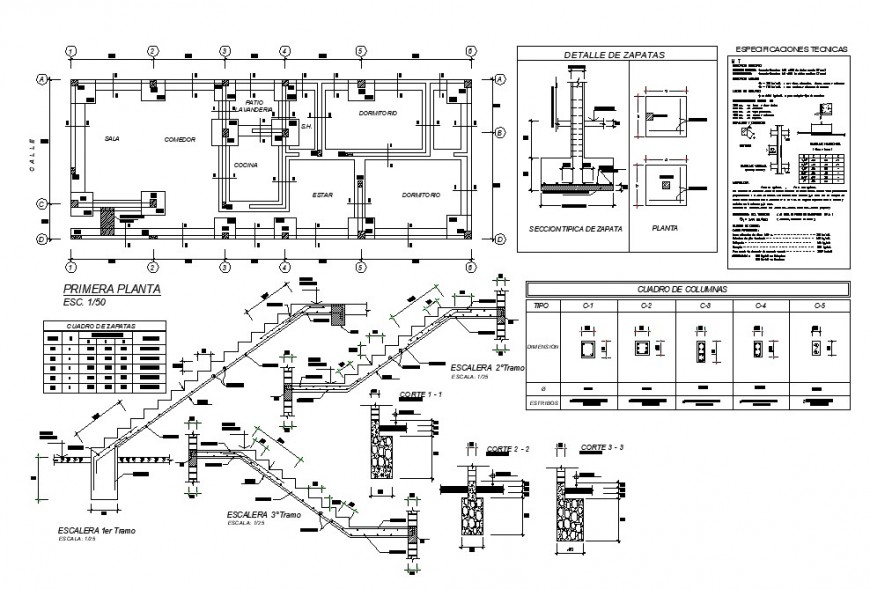 Staircase construction and housing plan detail 2d view CAD structural detail layout dwg file