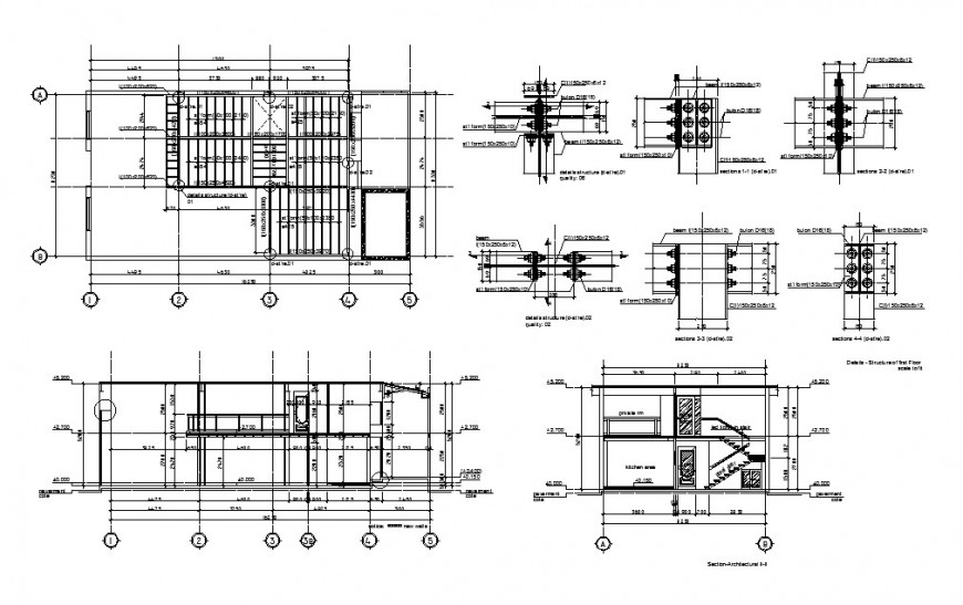 Staircase of house building section and construction cad drawing details dwg file