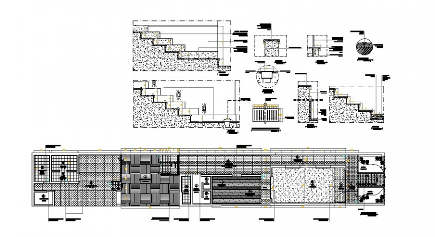 Staircase section, structure and store layout plan cad drawing details dwg file