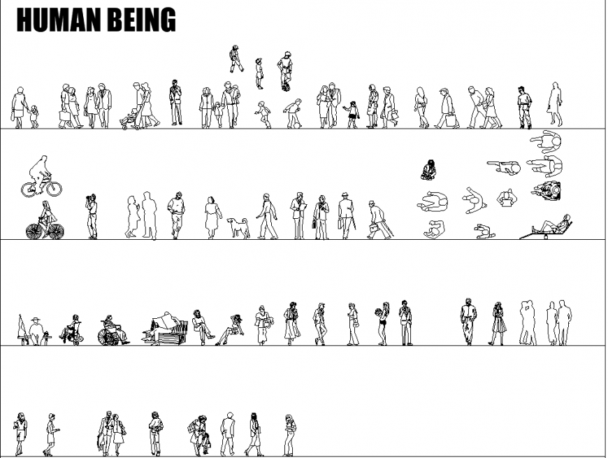 Standing human being block in dwg AutoCAD file.