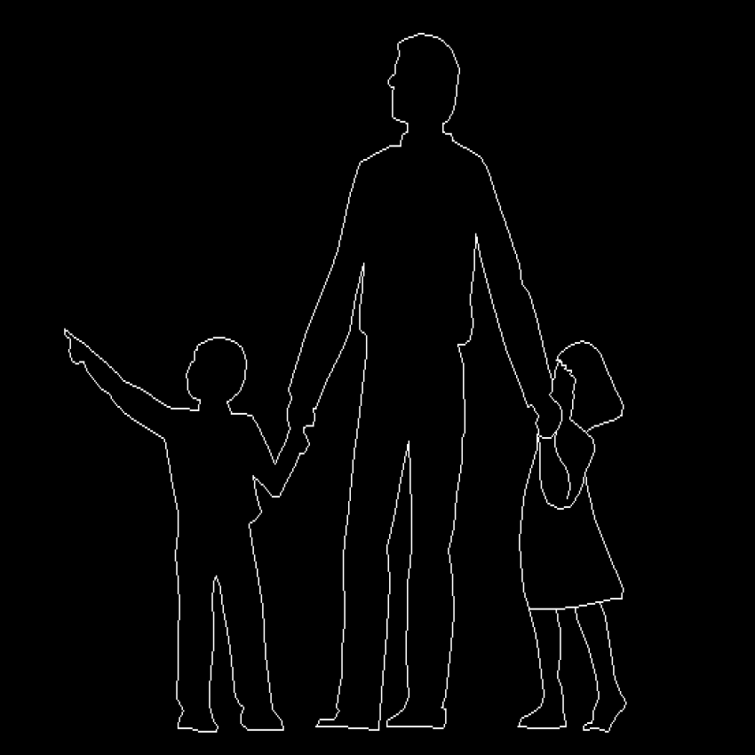 Standing man with children cad block design dwg file