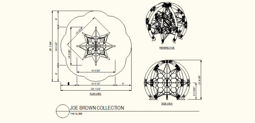 Star shaped globe detail plan and elevation dwg file