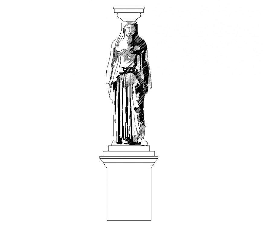Statue detail 2d view CAD block layout file in dwg format