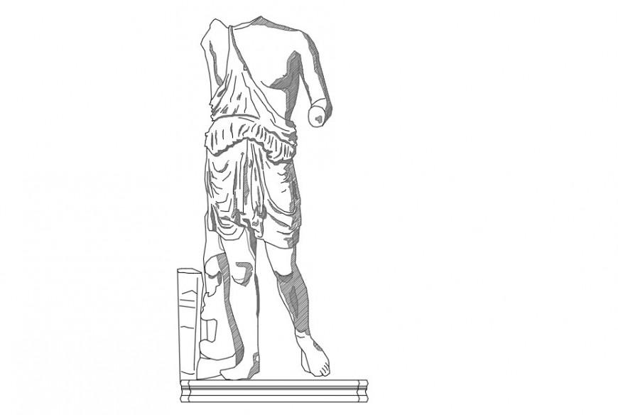 Statue front 2d elevation model block detail dwg file