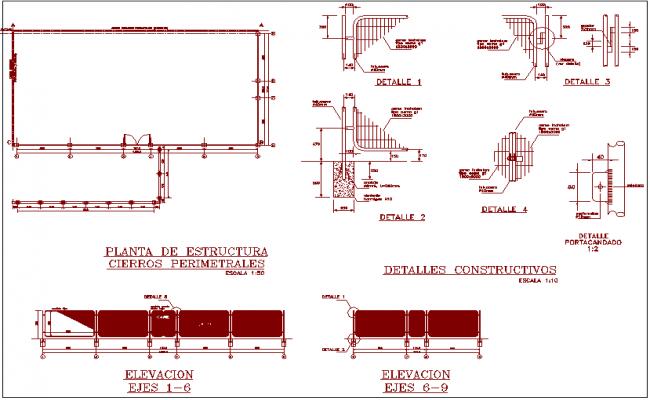 steel fence construction detail view for door design