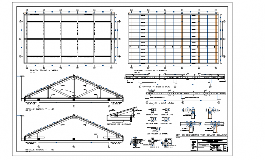 Steel Roof Construction Detail in autocad File