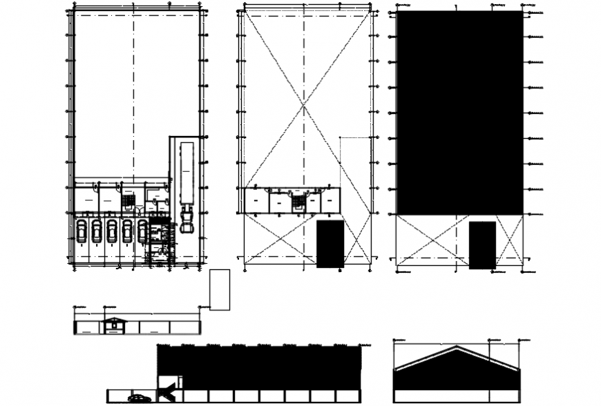 Stock market office building elevation, section and floor plan drawing details dwg file