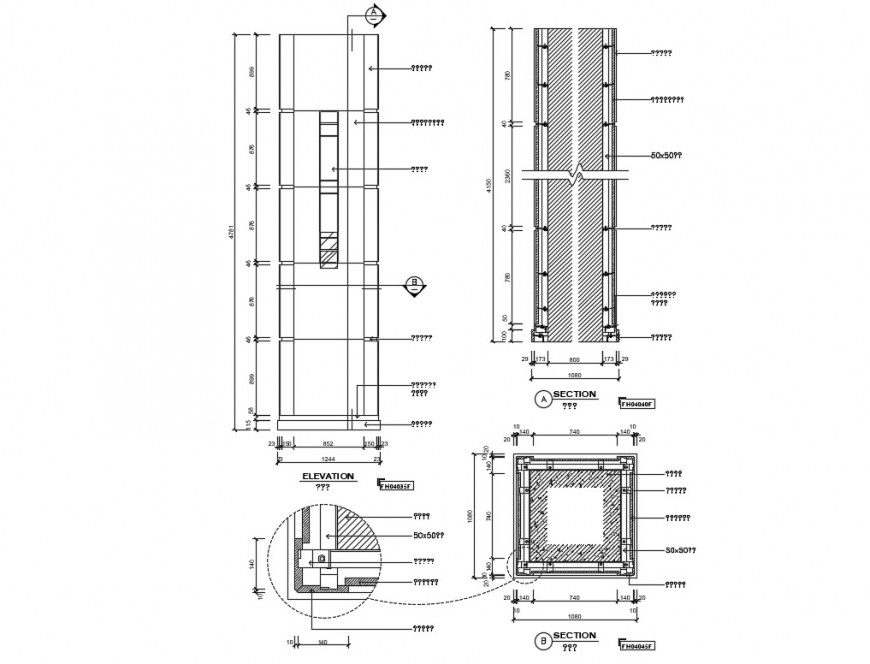Stone column elevation and section cad drawing details dwg file