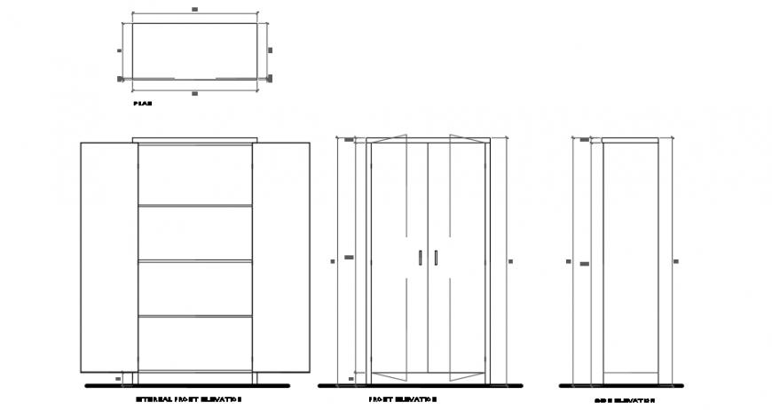 Storage cabinet all side elevation detailing file