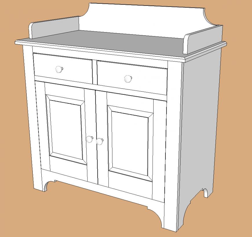 Storage table plan detail dwg file.