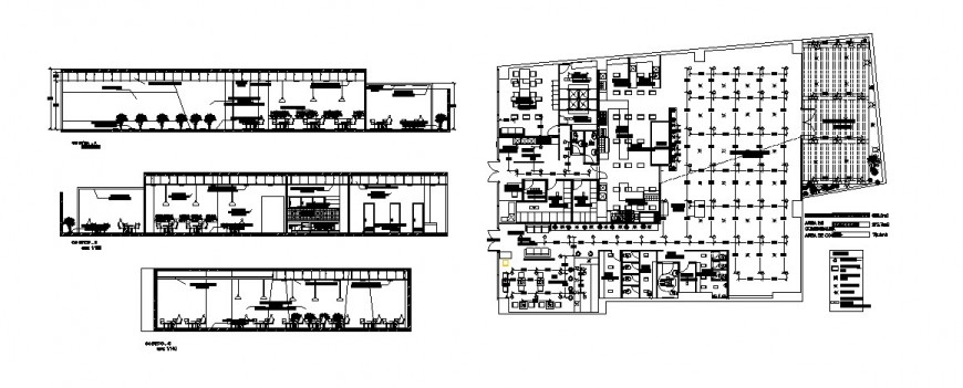 Restaurant all sided section and distribution plan cad drawing details dwg file