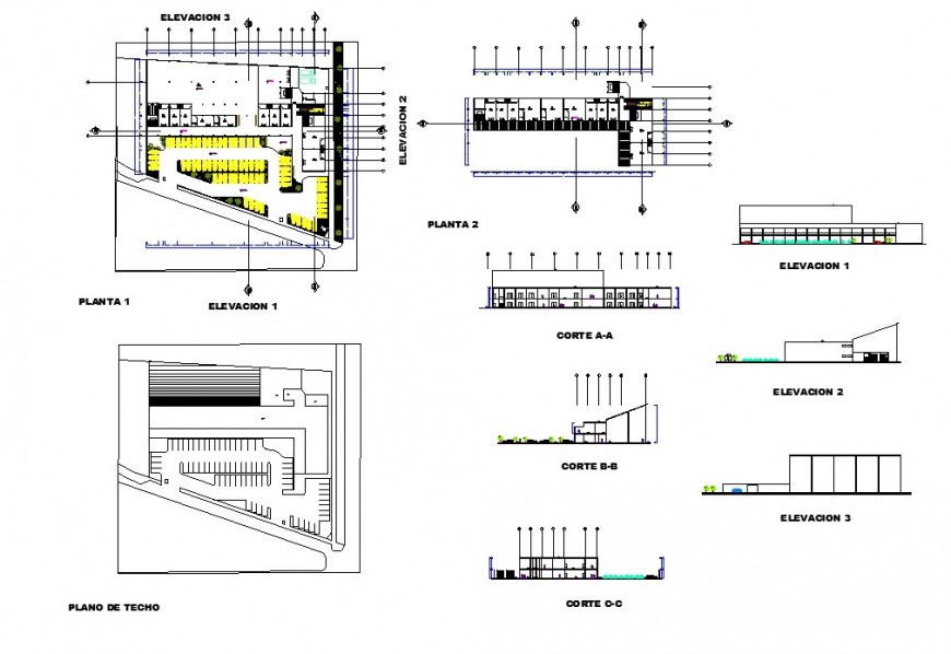 Store Building plan, elevation and section 2d view layout file in dwg format
