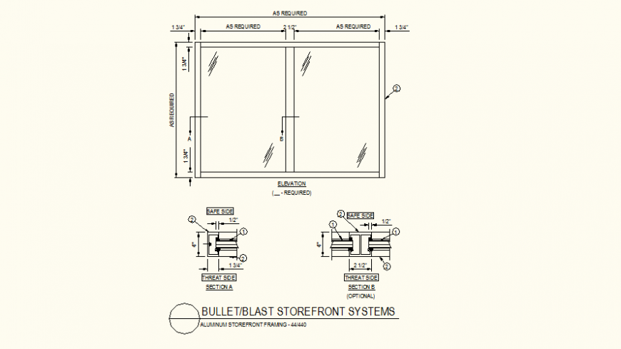 Store detail plan and section detail dwg file
