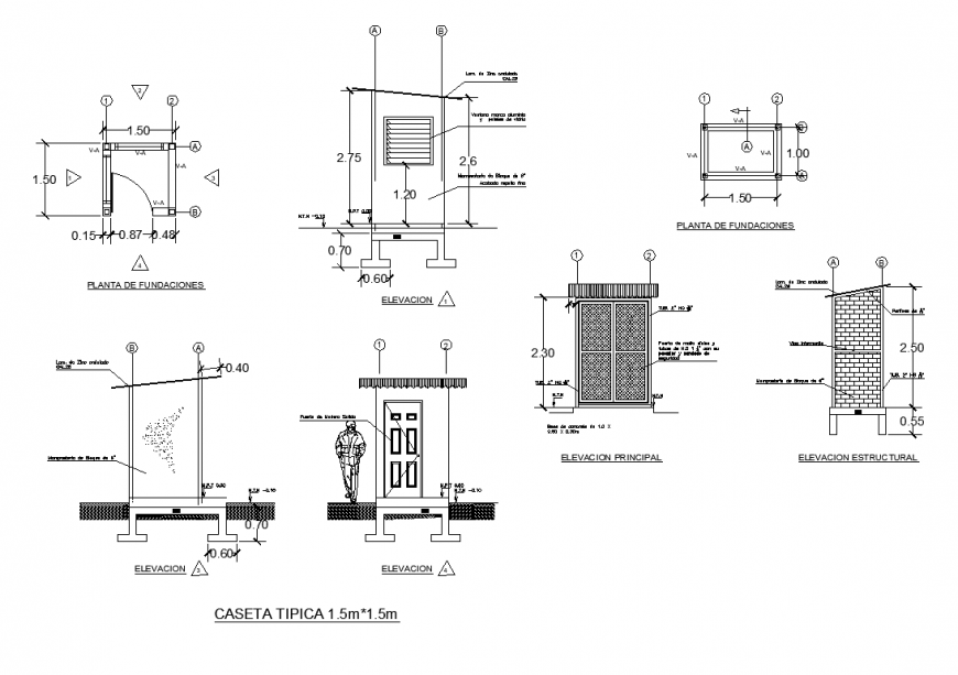 Store room detail elevation and plan layout 2d view dwg file