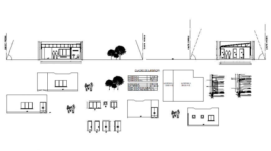 Store shop elevation, constructive section and auto-cad details dwg file