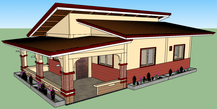 Storey residential house figure 3d drawing in skp file.
