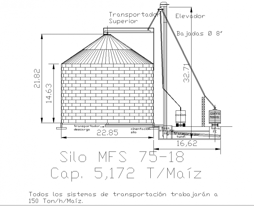 Storing agricultural silo drawing in dwg file.