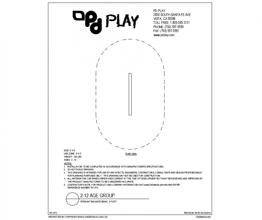 Straight balance beam 8 fit play equipment of park dwg file