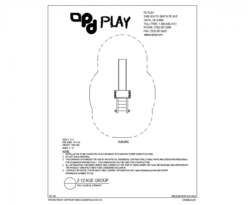 Straight poly side play equipment details of garden dwg file