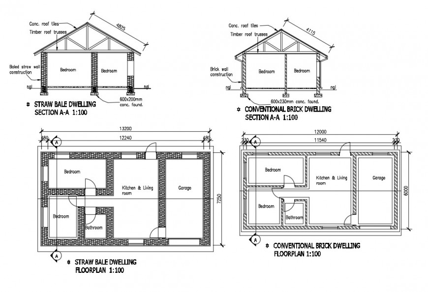 Straw bale and brick dwelling house constructive section and plan details dwg file