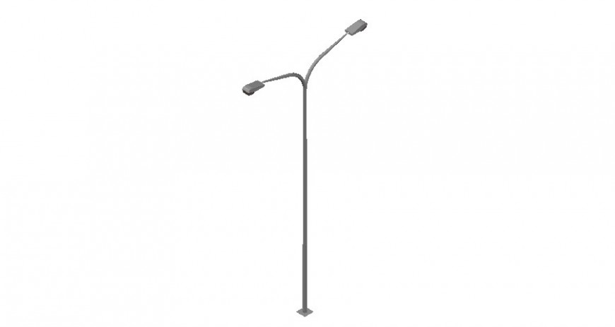 Street lamp detail 3d model drawing in autocad