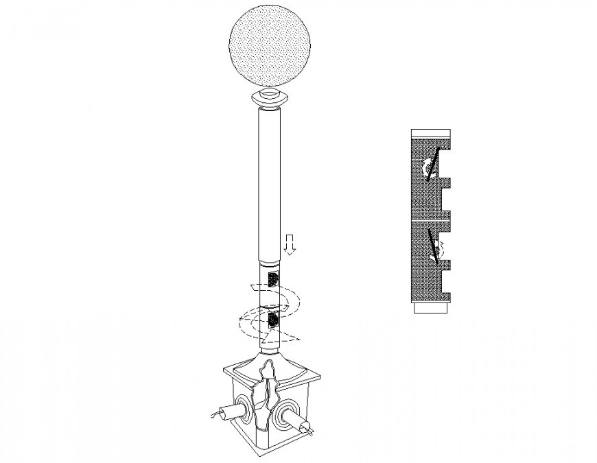 Street lamp elevation and installation cad drawing details dwg file