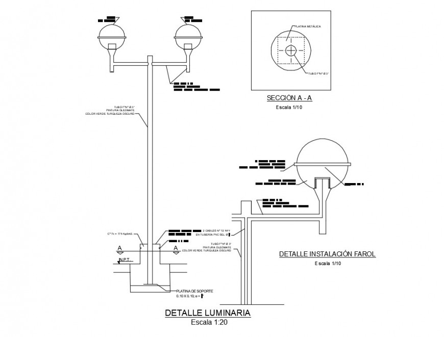 Street light elevation and section 2d view CAD electrical block autocad file