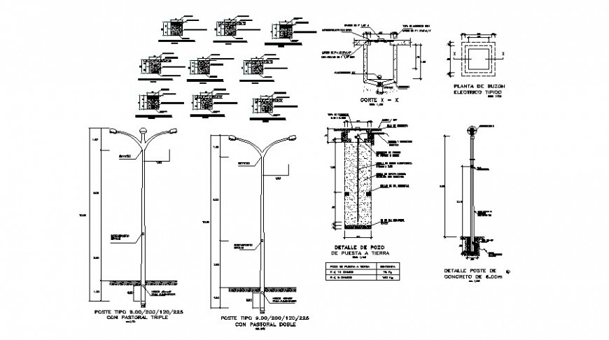 Street lighting units details drawing in autocad