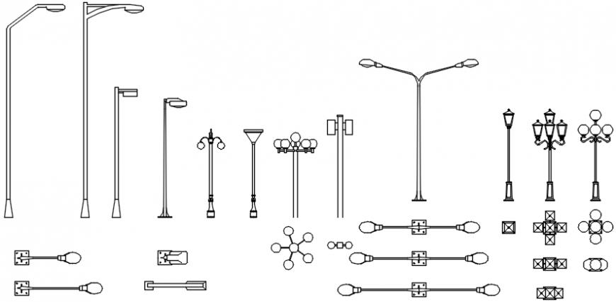 Street lights sectional elevation model file details