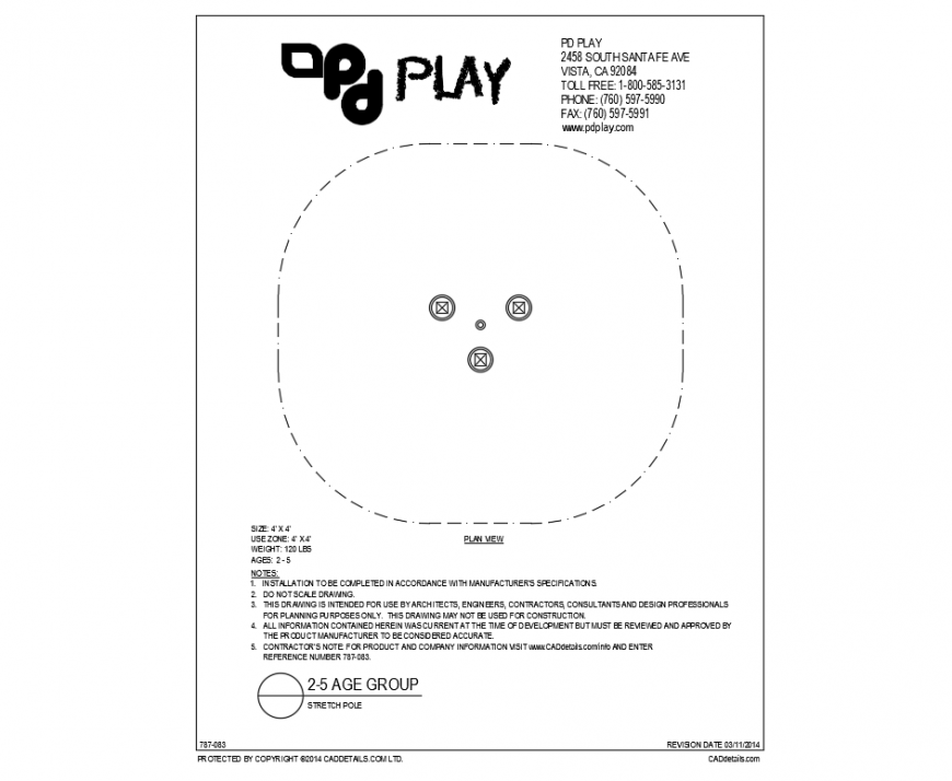 Stretch pole play equipment plan details of garden dwg file