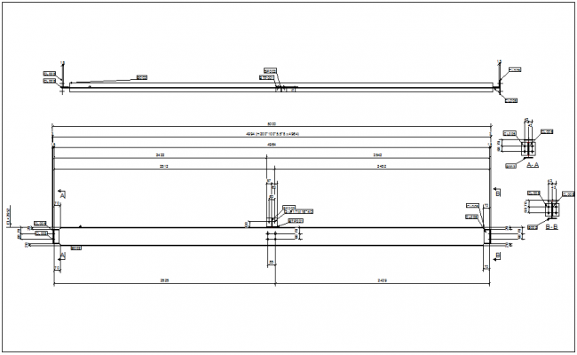 structural design view of beam detail dwg file