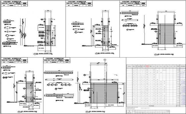 structural detail of column and column schedule.