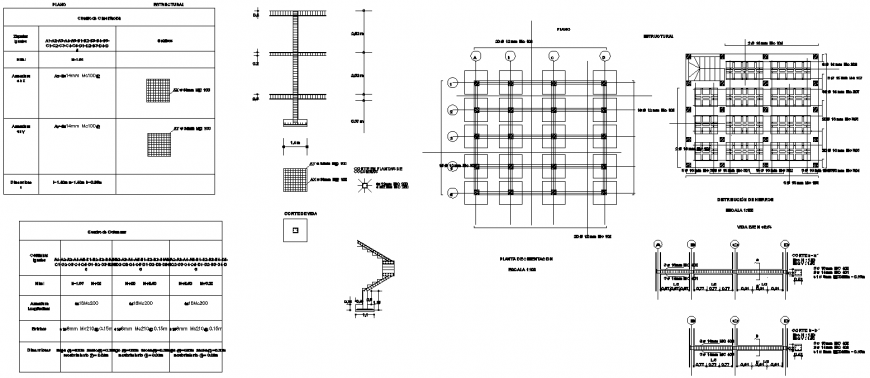 Structural and architectural plan detail dwg file.