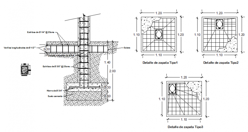 Structural concrete column and footing cad construction details dwg file