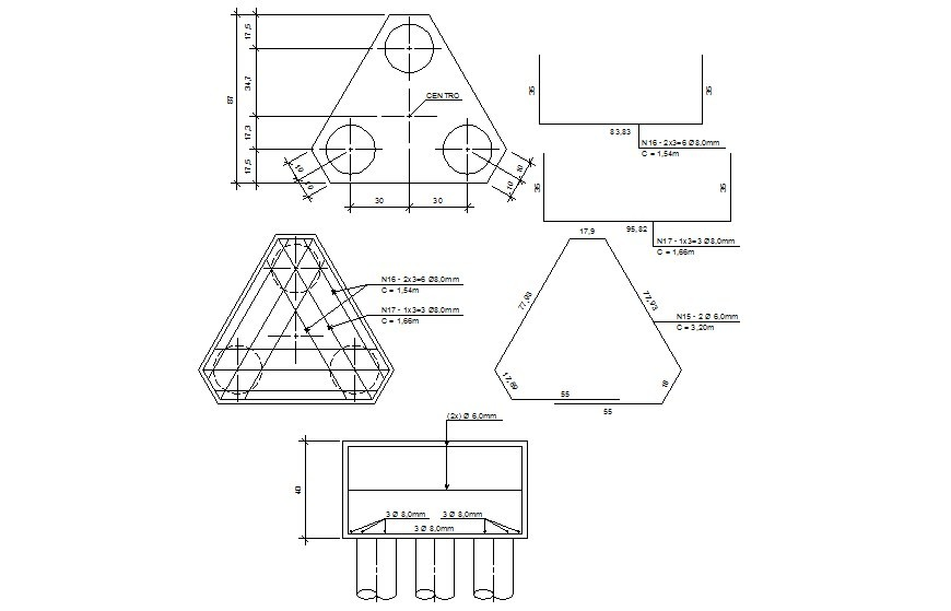 Structural details of foundation drawing in autocad