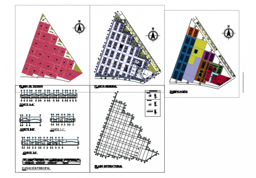 Structural plan, elevation and sectional detail of commercial building block detail autocad file