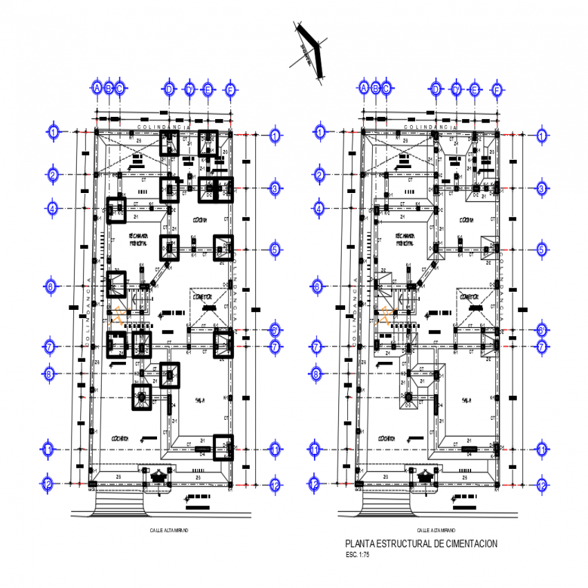 Structural plan of foundation with layout plan of house dwg file