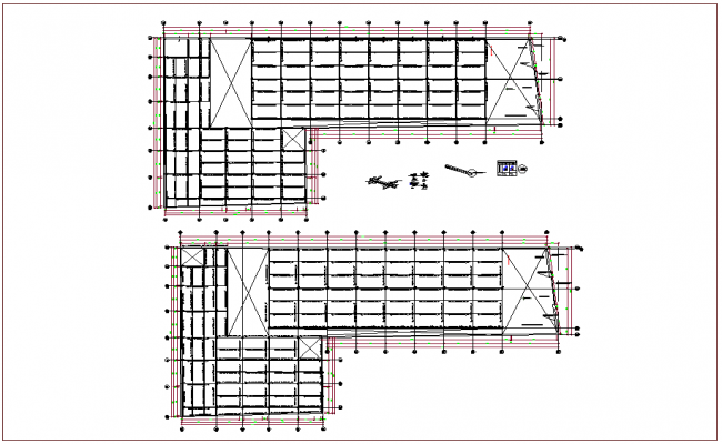 structure view of column view and detail view dwg file