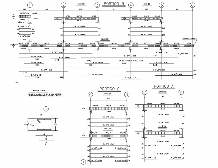 Structure two level concrete view with beam view dwg file