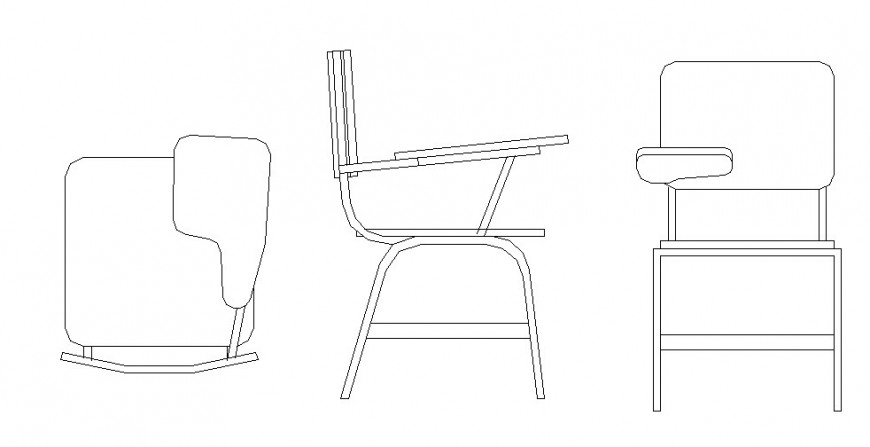 Student desk type chair all sided elevation block cad drawing details dwg file