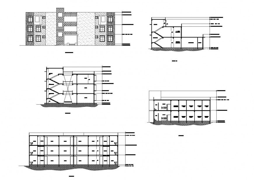 Student hostel main elevation and all sided sectional cad drawing details dwg file