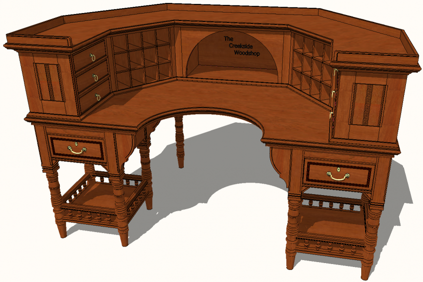 Study table plan with detail dwg file.