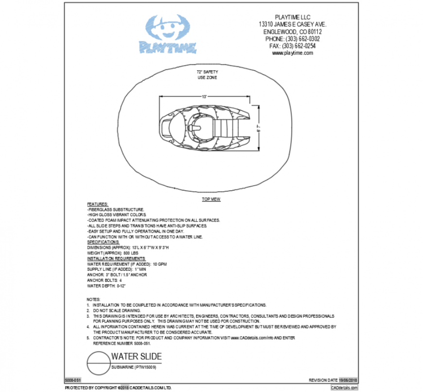 Sub marine water vehicle play equipment cad block design dwg file