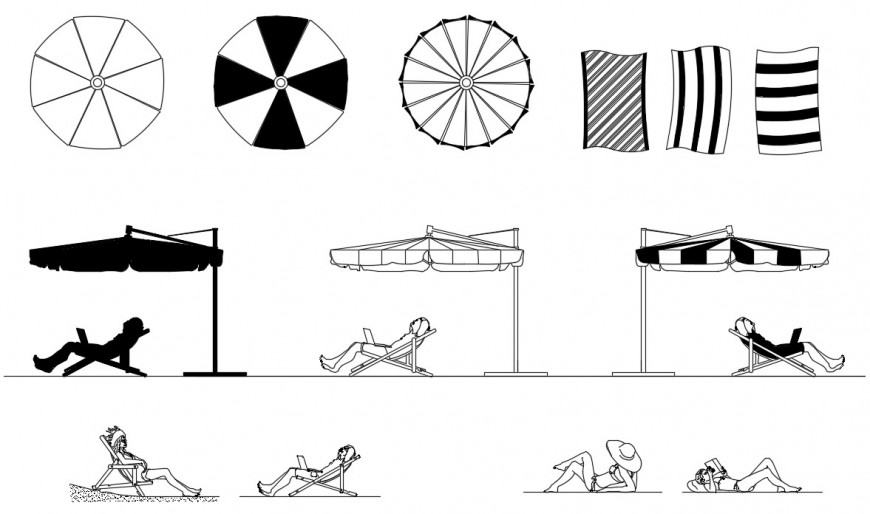 Sun shade umbrella and desk elevation blocks drawing details dwg file