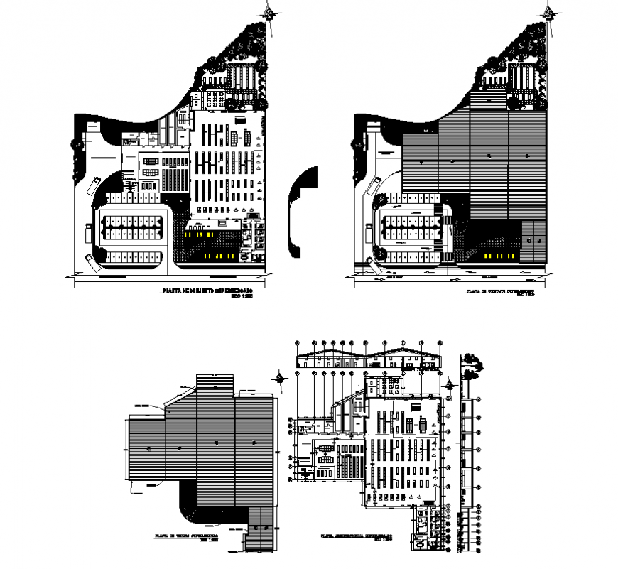 Supermarket detail elevation and plan layout autocad file